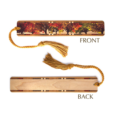 Fall Lineup Autumn Trees on Maple Wood Bookmark with Rope Tassel