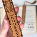 Franklin D. Roosevelt Engraved Wooden Bookmark with Brown Suede Tassel