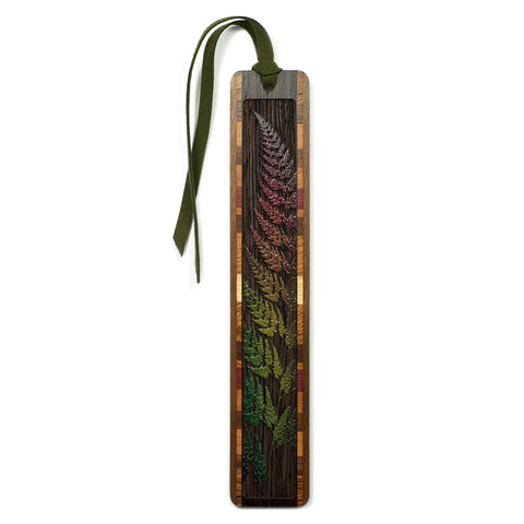 Sword Fern Engraved Color Wooden Bookmark with Tassel