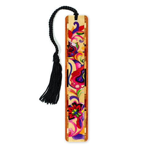 Floral - Bright Colorful Flowers - Wooden Bookmark with Tassel