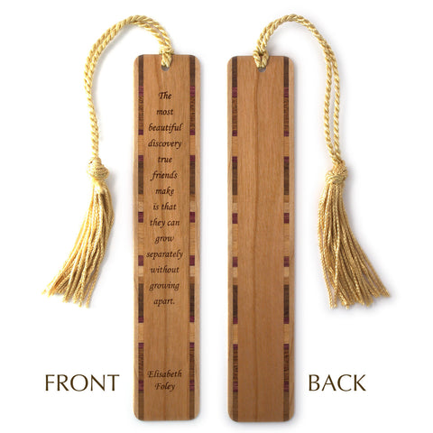 Elisabeth Foley Quote About True Friends Laser Engraved on Cherry Wood Bookmark With Tassel