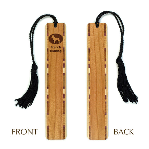 Dog Bookmark - French Bulldog Engraved Wooden Bookmark with Tassel