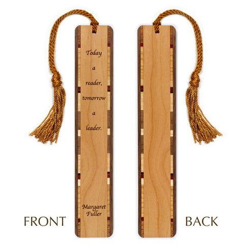 Today a Reader - Margaret Fuller Quote - Engraved Wooden Bookmark with Tassel