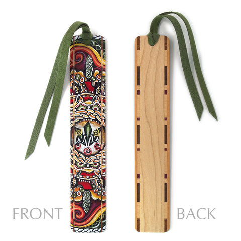 Awen - Painting by Gaia Woolf-Nightingall - Wood Bookmark With Solid Inlays and Tassel