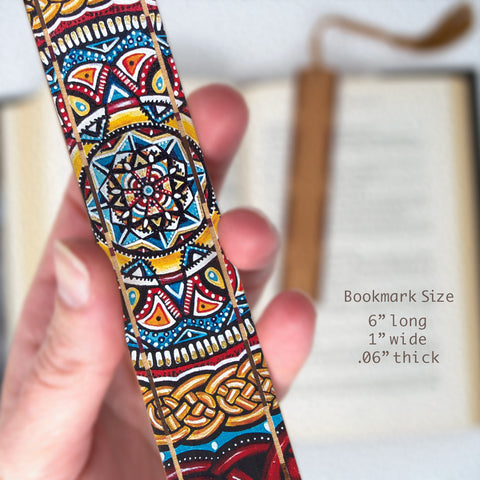 Catalyst - Painting by Gaia Woolf-Nightingall - Wood Bookmark With Solid Inlays and Tassel