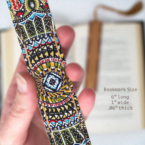 Flower Above Me - Painting by Gaia Woolf-Nightingall - Wood Bookmark With Solid Inlays and Tassel