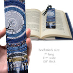 Full Moon - Painting by Gaia Woolf-Nightingall - Solid Wood Bookmark with Suede Tassel