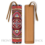 Guardian Fire 4 - Large - Painting by Gaia Woolf-Nightingall - Wood Bookmark with Solid Inlays and Tassel