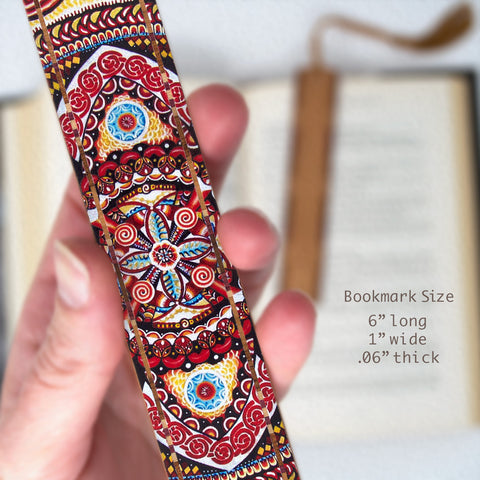 Guardian Fire 4 - Painting by Gaia Woolf-Nightingall - Wood Bookmark With Solid Inlays and Tassel