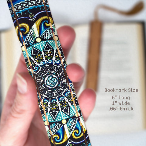 Guardian Of Water - Painting by Gaia Woolf-Nightingall - Wood Bookmark With Solid Inlays and Tassel