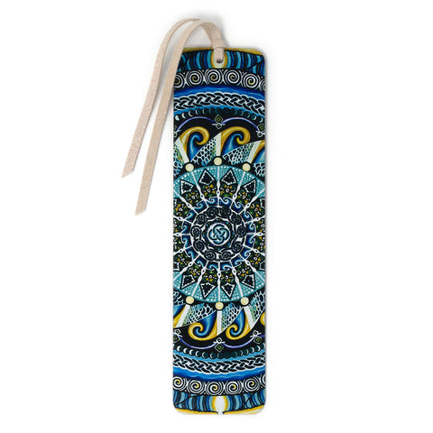 Guardian of Water - Large - Painting by Gaia Woolf-Nightingall - Wood Bookmark with Solid Inlays and Tassel