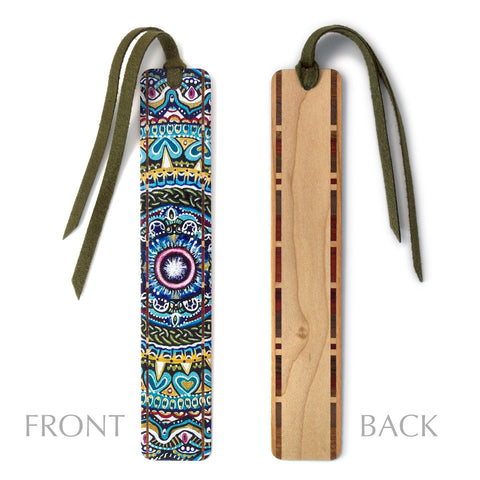 Reflection - Painting by Gaia Woolf-Nightingall - Wood Bookmark With Solid Inlays and Tassel