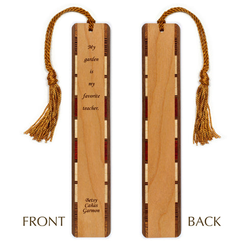 Gardening Quote - Favorite Teacher Engraved Wooden Bookmark with Tassel