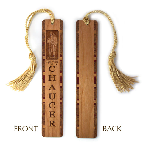 Poet Geoffrey Chaucer Engraved Wooden Bookmark with Tassel