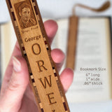 George Orwell Engraved Wooden Bookmark with Copper Rope Tassel