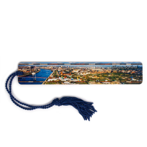 Glasgow, Scotland Color Photograph on Handmade Wooden Bookmark with Tassel
