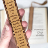 Butterflies Quote Engraved Wooden Bookmark with Tassel