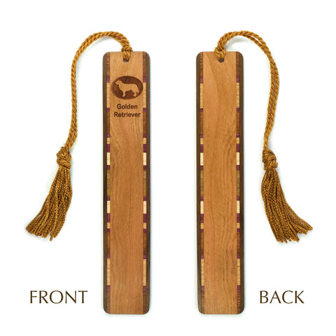 Dog Bookmark - Golden Retriever Engraved Wooden Bookmark with Tassel