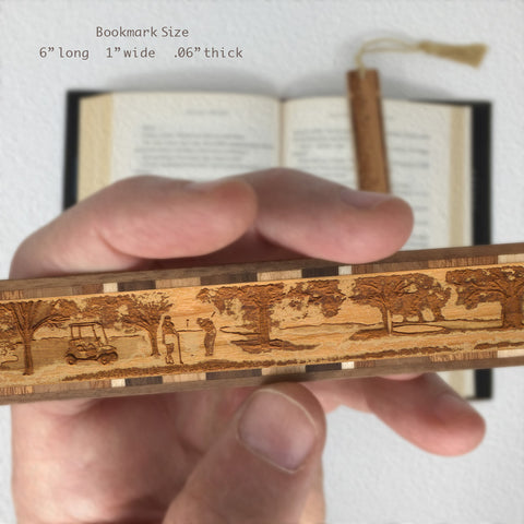 Golfers Engraved Wooden Bookmark with Tassel