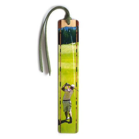 Golfer Makes a Nice Shot Wooden Bookmark with Green SuedeTassel