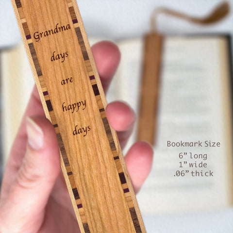 Grandma Days Are Happy Days Quote Engraved Wood Bookmark With Inlays and Tassel