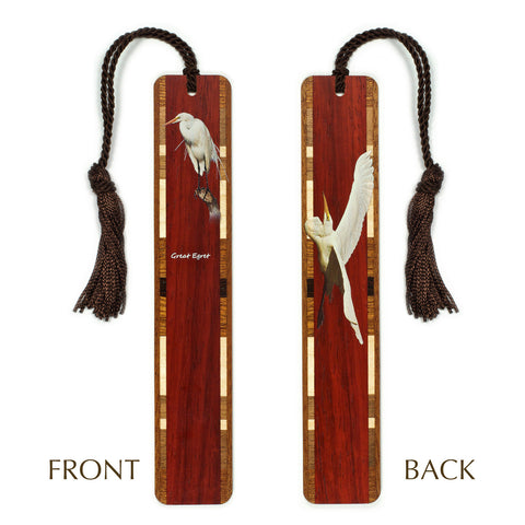 Great Egret - White Heron - Bird Wooden Bookmark with Tassel