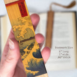 Japanese Ukiyo-e Woodblock Artist Hokusai - The Great Wave - Hand Made Wooden Bookmark with Tassel
