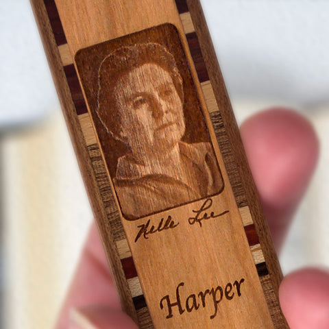 Harper Lee Engraved Wooden Bookmark with Brown Suede Tassel