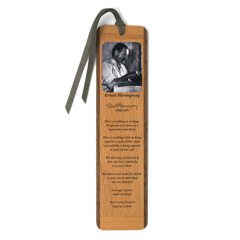 Ernest Hemingway with Portrait and Quotes Large Wooden Bookmark with Tassel