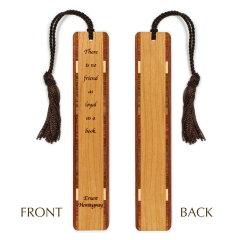 Ernest Hemingway - Friend - Book Quote Engraved Wooden Bookmark with Brown Rope Tassel