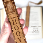Herbert Hoover Engraved Wooden Bookmark with Suede Tassel