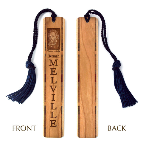 Herman Melville Author of Moby Dick Wooden Bookmark with Brown Rope Tassel