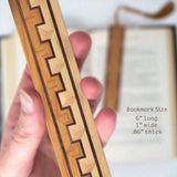 Inlay Design 03 Solid Wood Bookmark - Maple, walnut and cherry with gift pouch and optional suede tassel