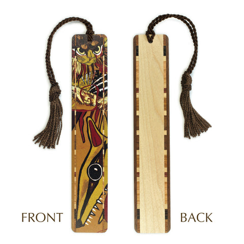 Cat - Feral Cat - Original woodcut art - Art by Jenny Pope Color Wooden Bookmarks with Tassel