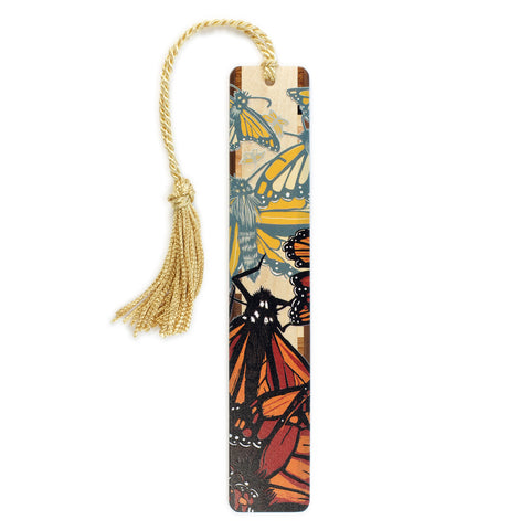 Monarch Butterfly - Butterflies - original woodcut art by Jenny Pope - Monarchs 1 on Solid Wooden Bookmark with Gold Tassel