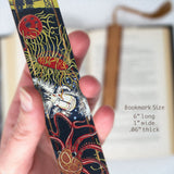 Sequestration - Ocean - original woodcut art by Jenny Pope on Solid Wooden Bookmarks with Tassel