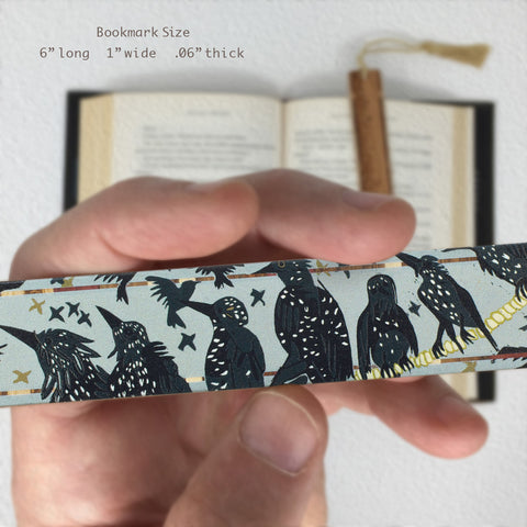 Starlings - Birds - original woodcut art by Jenny Pope - Solid Wooden Bookmark with Black Tassel