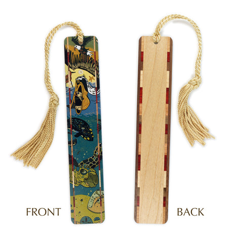 Tidal Medley - Seaside Animals - original woodcut art by Jenny Pope - Tidal Medley on Solid Wooden Bookmark with Gold Tassel
