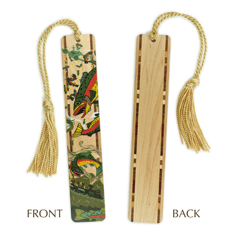 Trout - Fish - original woodcut art by Jenny Pope - On Solid Wooden Bookmark with Gold Tassel