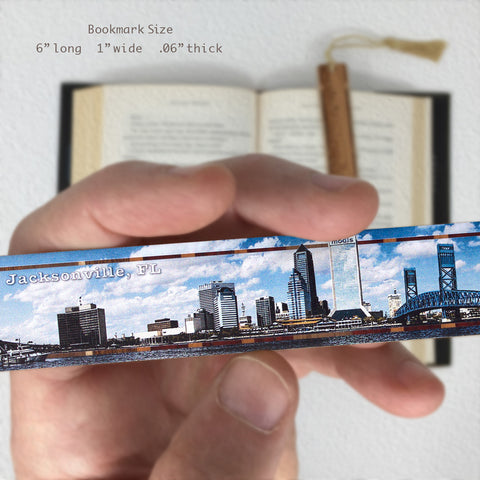Jacksonville Florida Panoramic Skyline Photo on Maple Wood Bookmark with Navy Rope Tassel