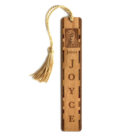 James Joyce Engraved Wooden Bookmark with Gold Rope Tassel