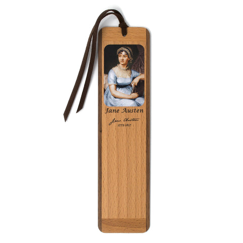 Jane Austen Color Portrait Wooden Bookmark with Suede Tassel