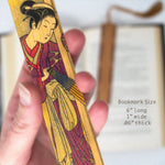 Japanese Woman in Kimono Painting Hand Made Wooden Bookmark with Tassel