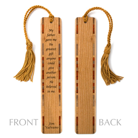 Father Quote by Jim Valvano - Wooden Bookmark with Tassel