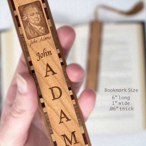 John Adams Engraved Wooden Bookmark with Black Rope Tassel