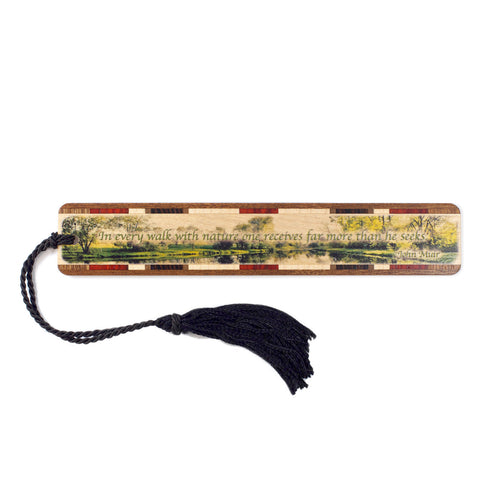 John Muir Quote Wooden Bookmark with Black Tassel