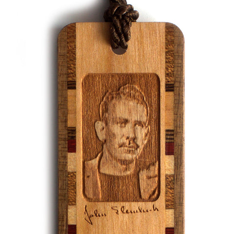 John Steinbeck Wooden Bookmark with Brown Rope Tassel