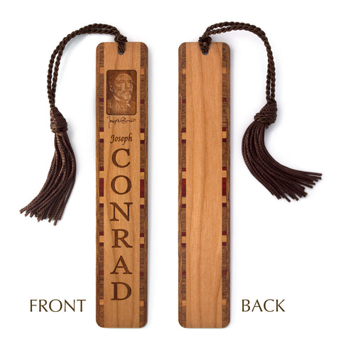 Joseph Conrad Author of An Outcast of the Islands Wooden Bookmark with Brown Rope Tassel
