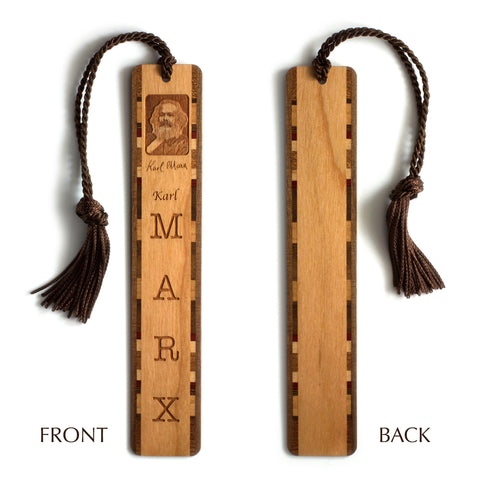 Karl Marx Engraved Wooden Bookmark with Brown Rope Tassel