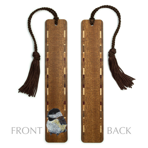 Dark Wood Bookmark with Chickadee Bird Painting by Kathleen Barsness - Includes Brown Rope Tassel - American Made